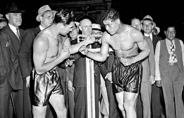 Max Schmeling, links vs. Joe Louis, rechts, 1936